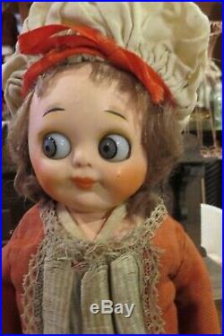 12 Antique Doll German Paper Mache Googly withDramatic Large Eyes, Orig Costum3