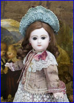 15 Antique French Bisque Brow-Eyed Jumeau Bebe Doll with Closed Mouth, size 6