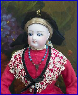 15 Antique French Fashion Gaultier Doll Poupee in Original Costume, c. 1885