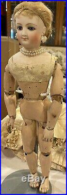 16 Antique French Rare Smiling Empress Eugenie Wooden Body Poupee by Maison Bru