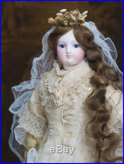 17 1/2 Early Antique French Fashion Doll by Barrois in Original Bridal Costume