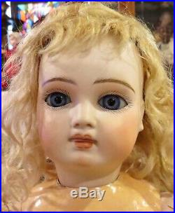 17 Antique Sonneberg Bisque Closed Mouth Doll with Musical Hand-wind Device