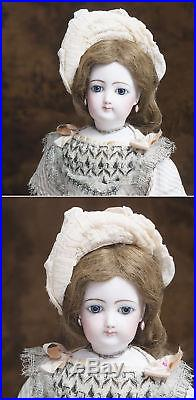 19 1/2 Antique French Fashion FG doll with bisque hands & legs, original dress
