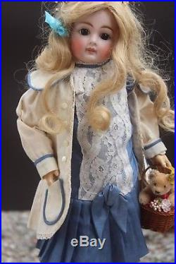 19.3 ANTIQUE SONNEBERG BISQUE Doll 1890s CLOSED MOUTH BELTON DOLL