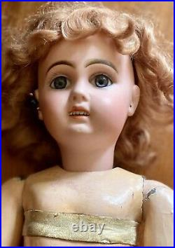 19 Antique C1890 Jumeau Doll Marked StraIghtwristed Body And Mohair Wig