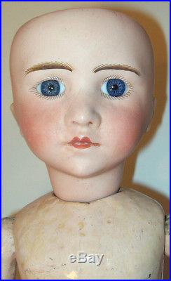 19 Antique French S. F. B. J. Closed Mouth Bisque Doll Early French Set Eyes