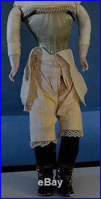 20Antique French Bisque Doll Leather Fashion Body Plaster Pate Turned Head