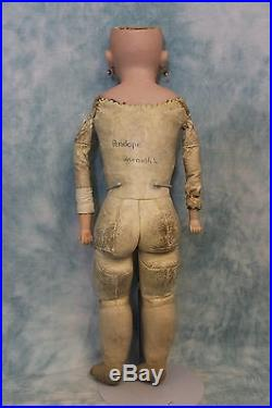 22 Inch Antique German Bisque Doll Unknown Dolly Face Marked H 100 8 circa 1900