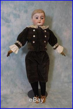 23.5 Antique German Bisque Boy Doll Molded hair Glass set eyes, adorably dressed