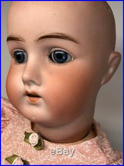 23 Antique German Bisque Doll B4 Ball Jointed Body Adorable Brunette Blue Eyes