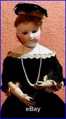 26 Antique French Bisque Poupee w Rare Wooden Articulated Arms