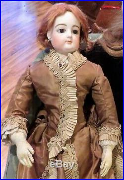 27 Antique C1875 French Bisque Poupee Peau by Gaultier With lovely Silk Costume