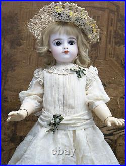 27 Antique French Bebe Doll by FG Gaultier in scroll, closed mouth size 10