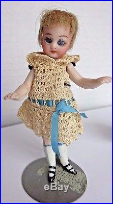 4 1/4 Antique French All Bisque Mignonette Glass Eyes Swivel Neck Doll