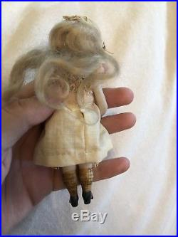 5.5 Antique All Bisque Mignonette Doll Marked 4 For French Market Closed Mouth
