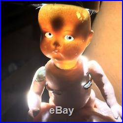 7 Antique German Painted Bisque Head Doll Googly AM JUST ME! Composition