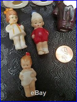 7 Antique HERTWIG Miniature German Bisque Penny Dolls Immobile Figurines with Box