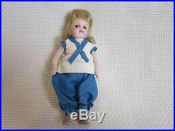 Antique All Bisque Doll House Doll Glass Eyes Blonde Swivel Head German