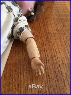 ANTIQUE BISQUE All Ceramic Jointed Body 11 Tall Doll Brown Hair