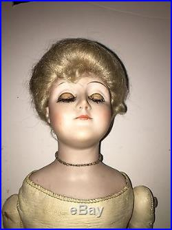 Antique Bisque Doll Orig Kid Leather Body As-is German Doll