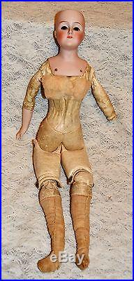 Antique Bisque German Fashion Doll 15'' Tall Leather Body Wigs Shoes Dress