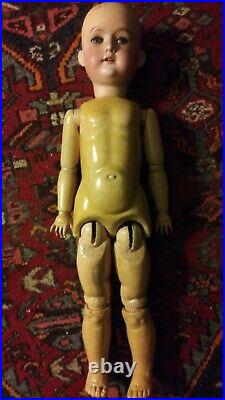 ANTIQUE BISQUE HEAD DOLL -COMP BODY-24 with Necklace, Bonnet and Knit Dress