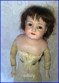 Antique Bisque Head Leather Body German Doll 17 Nr
