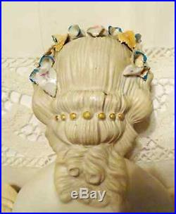Antique German 22 Parian Bisque Doll Countess Wagmar Type Flowers In Hair