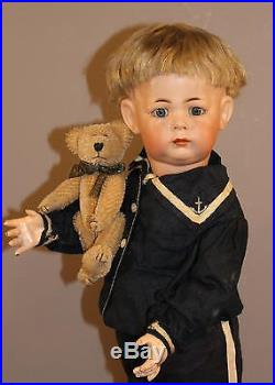 ANTIQUE GERMAN BISQUE DOLL K R #115a TODDLER With TEDDY BEAR