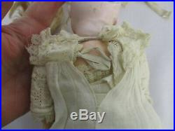 ANTIQUE GERMAN BISQUE HEAD DOLL in LONG ANTIQUE DRESS ONLY MARKED 3 BACK HEAD