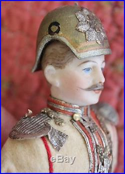 Antique German Bisque Soldier Dollhouse Doll Officer Good Condition