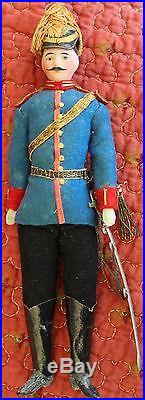 Antique German Bisque Soldier Dollhouse Doll Officer Good Condition Blue