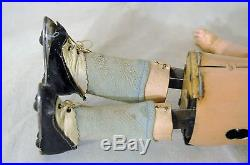 Antique German Mechanical Roller Skating Doll-metal Body- With Bisque Head