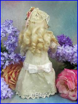 ANTIQUE German BISQUE DOLL rare MARK embroidered net lace DRESS wood body 12