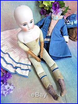 ANTIQUE German BISQUE Fashion DOLL Closed MOUTH Belton type VICTORIAN DRESS 20