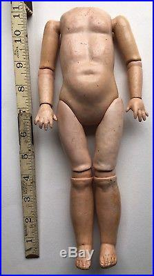 ANTIQUE Hard to Find 11 SLANT HIPPED Wood Composition BODY for Bisque DOLL
