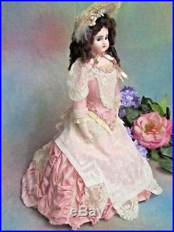 ANTIQUE JD KESTNER series G LADY bisque DOLL closed mouth KID body PINK gown 18