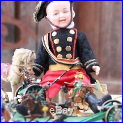ANTIQUE NAPOLEONE SOLDIER HEUBACH BISQUE DOLL CLOSED MOUTH c1915 w HORSE