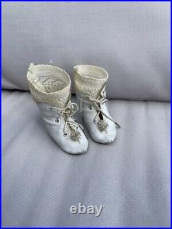 ANTIQUE shoes for FRENCH doll Jumeau Steiner size 8 For Doll 48 Cm