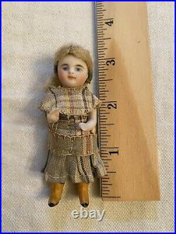 All Original All Bisque 3.25 Kestner Doll With Golden Yellow Boots Mignonette