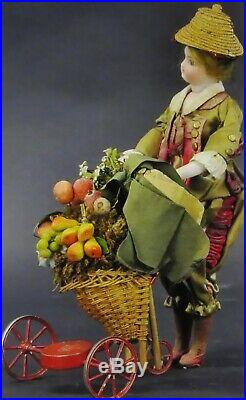 Antique 12 French Steiner Doll Automaton Fruit Seller Doll Toy, Works Great