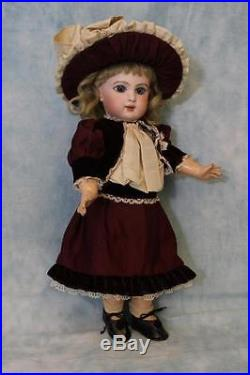 Antique 13.5 EJ Jumeau French Bisque Doll Beautiful Costume c. 1886 Blue Pwights