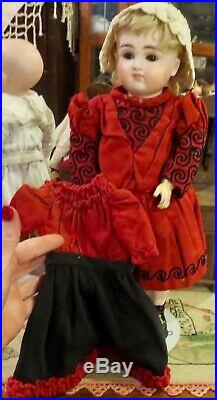 Antique 15 German Bisque Kestner Closed Mouth XII Doll with2 Outfits Straight Wr