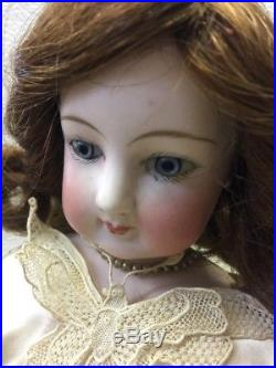 Antique 16 1/2 FRENCH Bisque Fashion Doll on RARE Kid Body Rare Wedding Gown