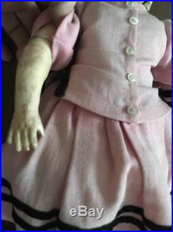 Antique 17 2 Face Bisque Pull String Talking Doll, by Carl Bergner