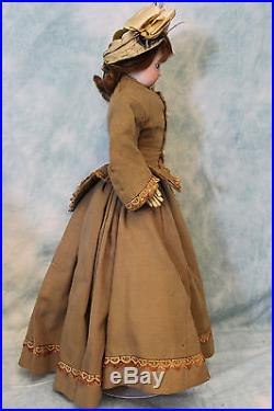 Antique 17 French Bisque FG Fashion doll Francios Gaultier with Beautiful Dress
