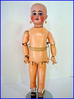 Antique 18 Bisque FRENCH or GERMAN DEP Walker Cry Doll Comp Wood TLC