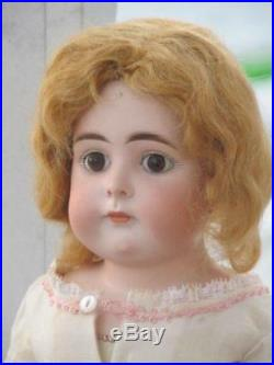Antique 18 German Bisque Head CLosed Mouth Doll, Well Made Body, Glass Eyes