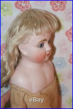 Antique 19 Belton Bisque Head German Made Marked 8 Leather Body Doll