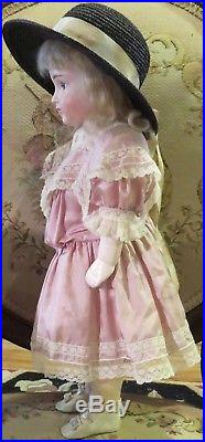 Antique 19 German Bisque Closed Mouth #13 Pouty Doll on Straight Wristed Body